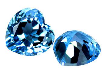 Topaze bleue Swiss Blue coeur  12x12mm (traité)
