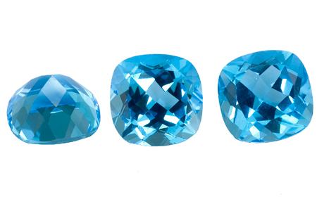 Topaze bleue Swiss Blue (traitée) coussin 13x13
