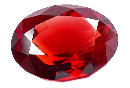 Andésine rouge vermillon 6.85ct