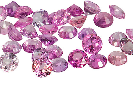 lot pink sapphires - saphirs roses