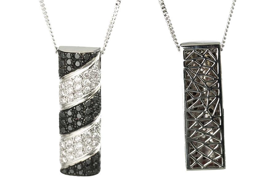 pendantif haute joaillerie, diamants noirs, diamants blancs, création Laurent SIKIRDJI
