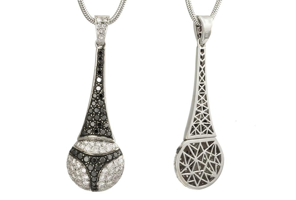Achat-pendentif string-diamants noirs-diamants blancs-haute joaillerie-création Laurent SIKIRDJI