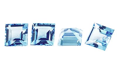 Topaze bleue Sky Blue carrée 6mm