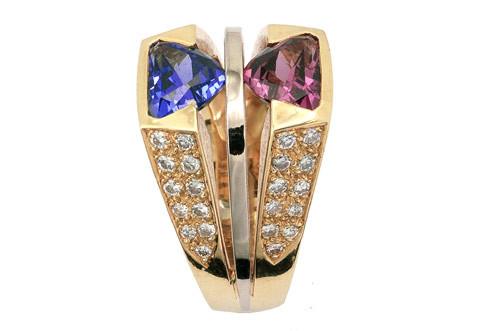 Bague tanzanite, rhodolite, diamants