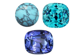 The December birthstones: turquoise, tanzanite and blue zircon