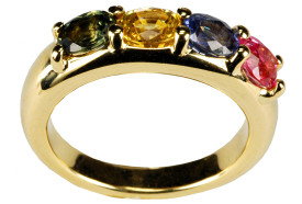 4  colours sapphires ring