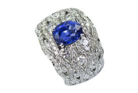 Mogok sapphire - 200 diamonds ring