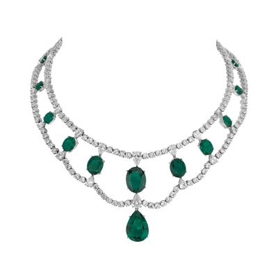 "Collier Victoria, ""Burmalite"" verte - Victoria collar green ""burmaline"""