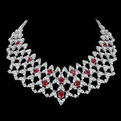 "Collier illusion, ""Burmalite"" rouge rubis - Illusion collar, rubis red ""burmalite"""