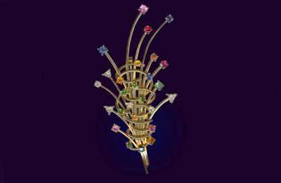 CHRISTIGUEY-broche multicolore avec andésine