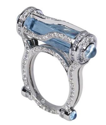 Collection Kryptonite, Bague Aigue marine 9ct, diamants, ROBERT PROCOP