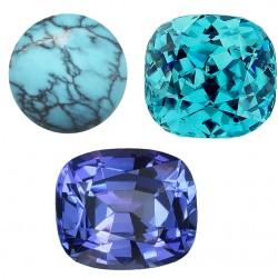 Décembre : la turquoise, le zircon bleu, la tanzanite