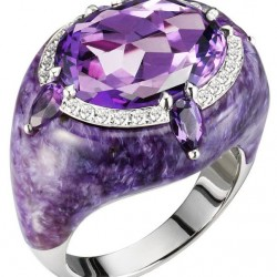 Bague collection Reveal, amethyste et charoite Bogh-Art ©