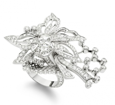 Collection Couture Précieuse, bague inspiration  broderie, diamants, or blanc, ©PIAGET