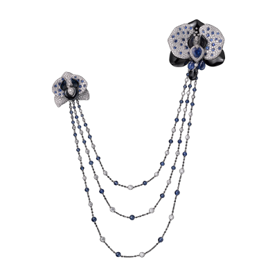 CARTIER-Collection Cartier royal- ornement broche- charoite-saphir-diamants