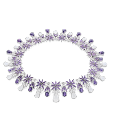 Collier Ghirlanda violet Necklace, collection bon ton, or blanc, améthyste, quartz laiteux, diamant, Pasquale Bruni