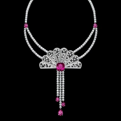 Collier collection Luxury Jewellery, or blanc, diamants rubellite, ©Piaget