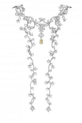 Collier de la collection Secrets de Lys platine diamants jaune et diamants. ©Mellerio dits Meller
