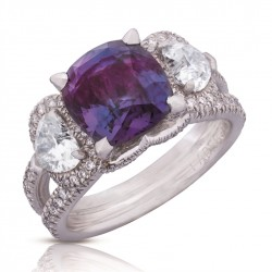 Devotion collection  ring in white gold, diamonds, and alexandrite,  Faberge©