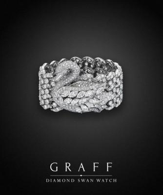 Montre secrète Cygne, diamants blancs, ©GRAFF