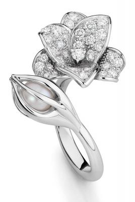 collection Medicis, bague Florissante, or gris diamant perle toi et moi ©Mellerio dits Meller