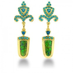 paula-crevoshay-Boucle d'oreille, opale, apatite, ©Paula Crevoshay7-earrings-18-kt-yellow-gold-opal-apetite $29,975.00 These beautiful earrings are crafted in 18 kt yellow gold and are graced with opal and apatite