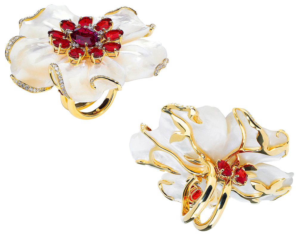 Bague or jaune, nacre, rubellite, andésine, Dior - Andesine, mother of pearl, rubellite ring on yellow gold, Dior