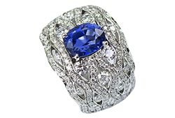 Bague platine et diamant, saphir de Mogok - Mogok sapphire and diamond ring on platinium