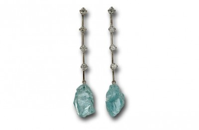 Boucles d'Oreilles Rivière aigue marine - Earrings River Aquamarine