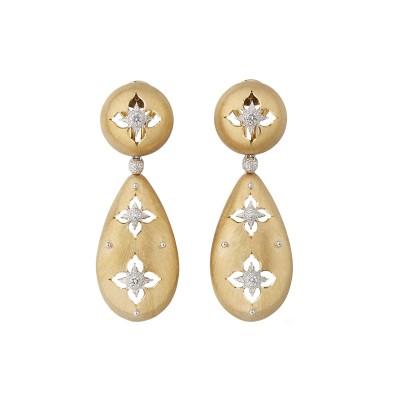 #BUCCELATI #18k Yellow Gold #Diamond #'Macri Giglio' Pendant Earrings #doamant #boucles d'oreilles