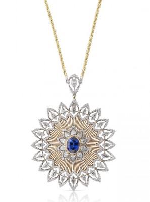 BUCCELLATTI #Collar #Diamonds #Sapphire #WhiteGold #YellowGold