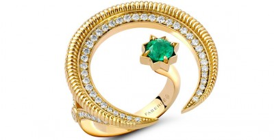 #FABERGE #18-karat-gold #Hilal-ring #diamonds #Zambian-emerald #diamants #émeraudes