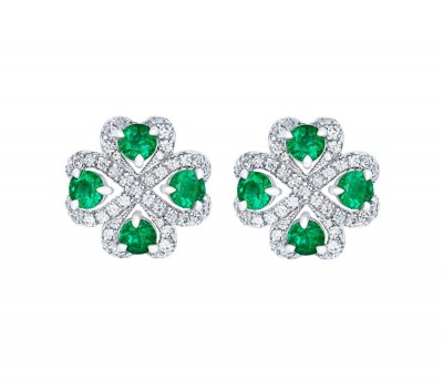 #FABERGE #Earrings Quadrille Emerald Earrings feature emeralds and white diamonds, set in 18 karat white gold