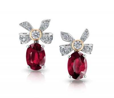 #FABERGE #Earrings #oval rubies #round white diamonds #18 K white and rose gold