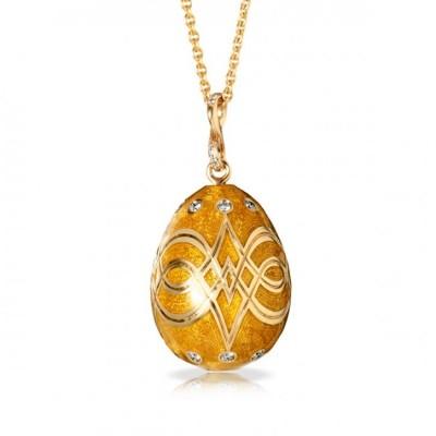FABERGE-Palais Gatchina Peach Pendant-diamonds-peach guilloché enamel