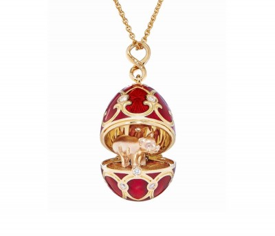 #FABERGE #Pendant #18-karat yellow and rose gold #guilloché red enamel #diamonds