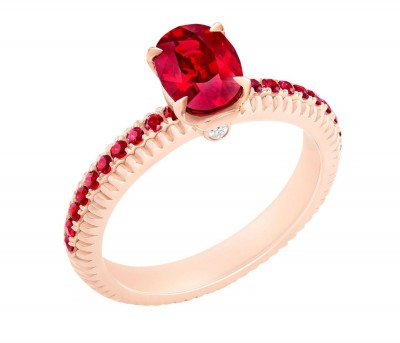 #FABERGE #Ring #Mozambican ruby #pavé-set rubies #18 karat fluted rose gold