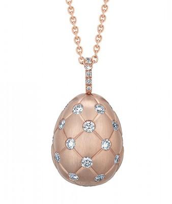 #FABERGE #Treillage #Diamond #Rose Gold Matte #Pendant #Egg #diamant