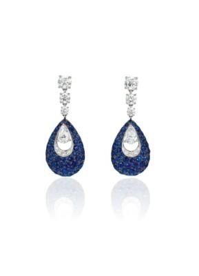 #GRAAF #Diamond #Sapphire #'Pavillion' Earrings
