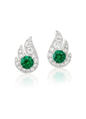 #GRAAF #Pair of Emerald and Diamond 'Flame' Earrings