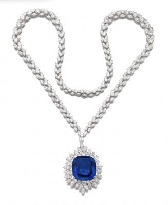 #HARRY WINTSON #Necklace #Brooch #Sapphire 126.43ct  #Diamonds