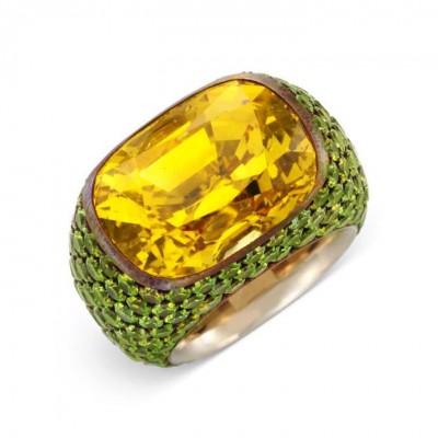 HEMMERLE-28.36ct-yelleow sapphire-demantoid garnets