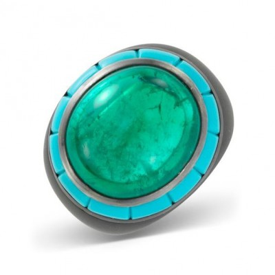 #HEMMERLE #Cabochon #Emerald #Turquoise #Ring