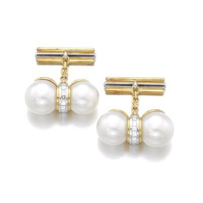 #HEMMERLE #Cultured pearl #Diamonds #Cufflinks