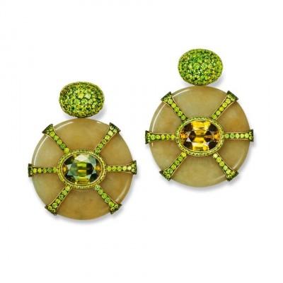 HEMMERLE-Jade disc earrings, featuring demantoides, sphenes, brass and gold.