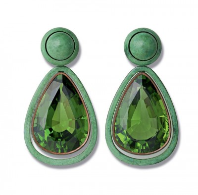 HEMMERLE-Peridot, green patinated copper and white gold earrings.