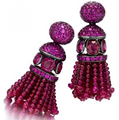 #HEMMERLE #Rubis #Saphirs Roses #Or #boucles d'oreilles #earrings #ruby #pink sapphire