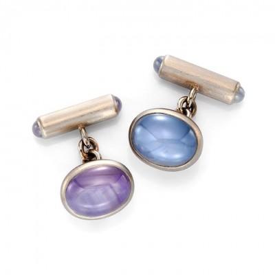 HEMMERLE-a pair of cabochon star sapphires cufflinks