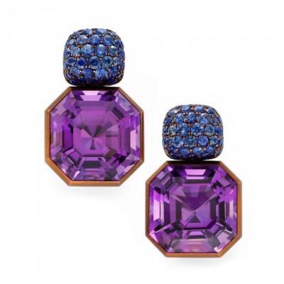 HEMMERLE-earrings-clipsèamethyst-sapphire-copper-white gold