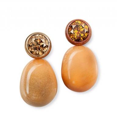 HEMMERLE-earrings-conch pearls-diamonds-copper-gold